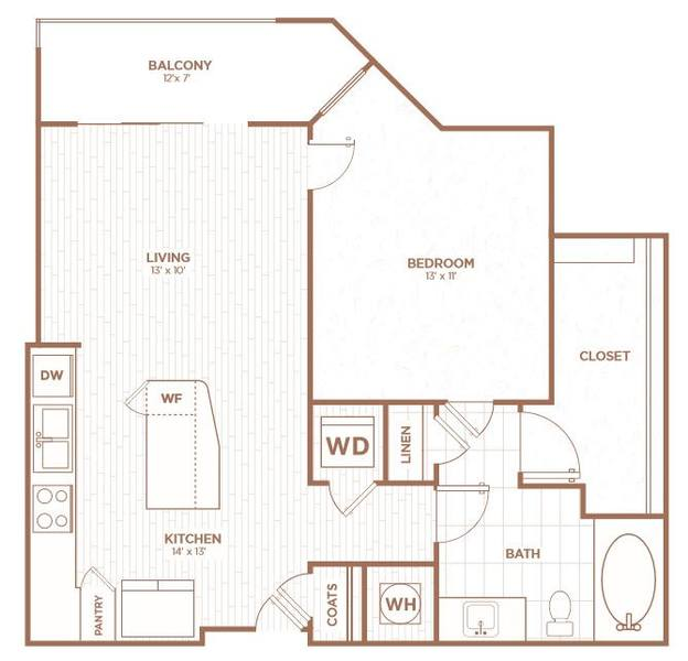 A 2D drawing of the A1F floor plan