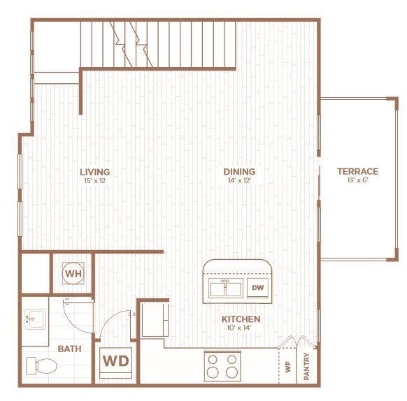 A 2D drawing of the THD floor plan