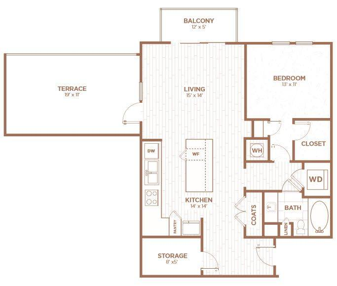 A 2D drawing of the A2GA floor plan