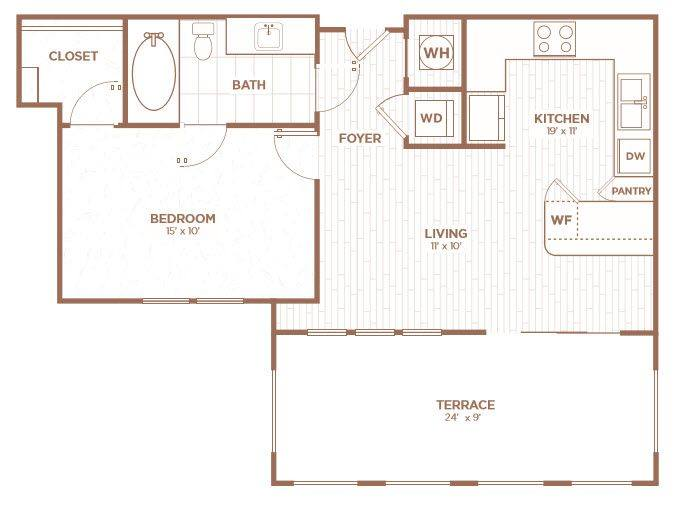 A 2D drawing of the A1A floor plan