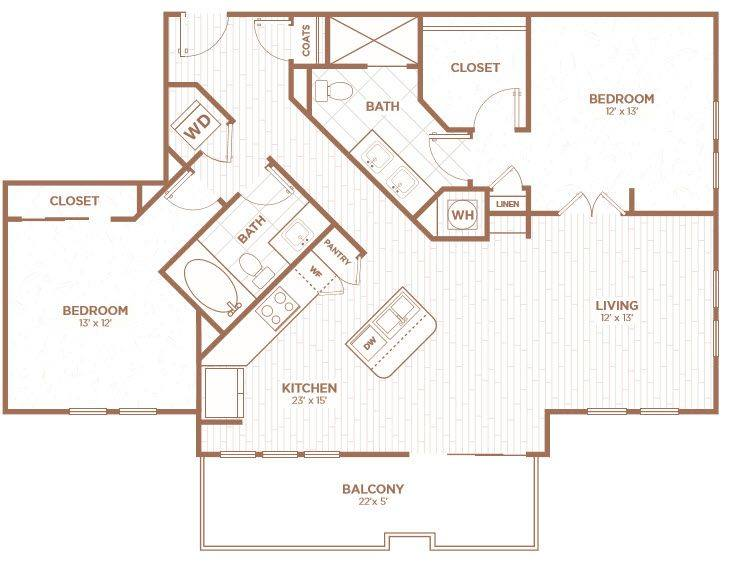 A 2D drawing of the B2F floor plan