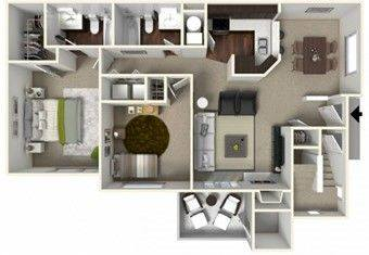 A 3D rendering of the B1 Renovated floor plan