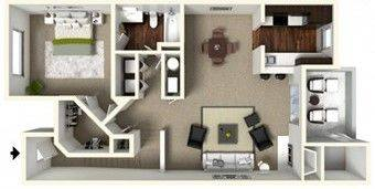 A 3D rendering of the A3 Renovated floor plan