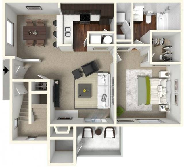 A 3D rendering of the A1 Renovated floor plan