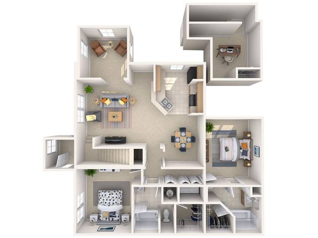 A 3D rendering of the Anise floor plan
