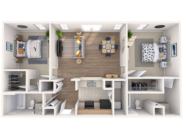 A 3D rendering of the Jasmine floor plan