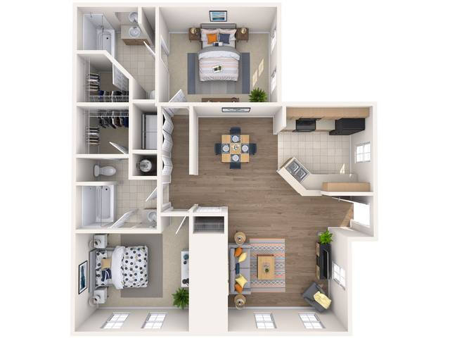 A 3D rendering of the Hibiscus floor plan