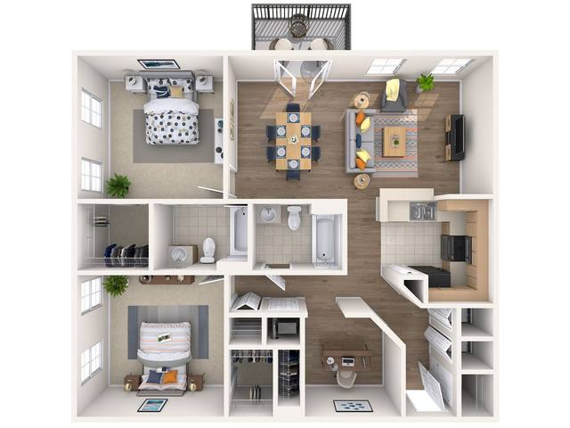 A 3D rendering of the Maple floor plan