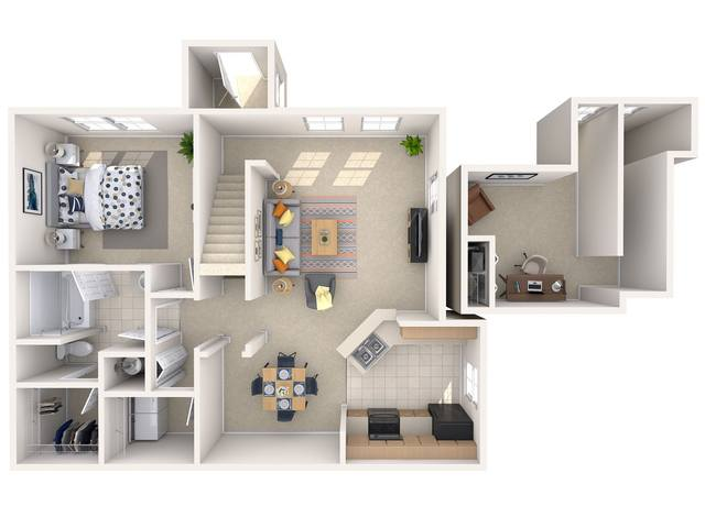 A 3D rendering of the Ginger floor plan