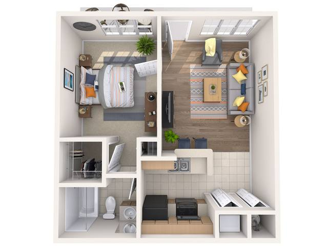 A 3D rendering of the Lily floor plan