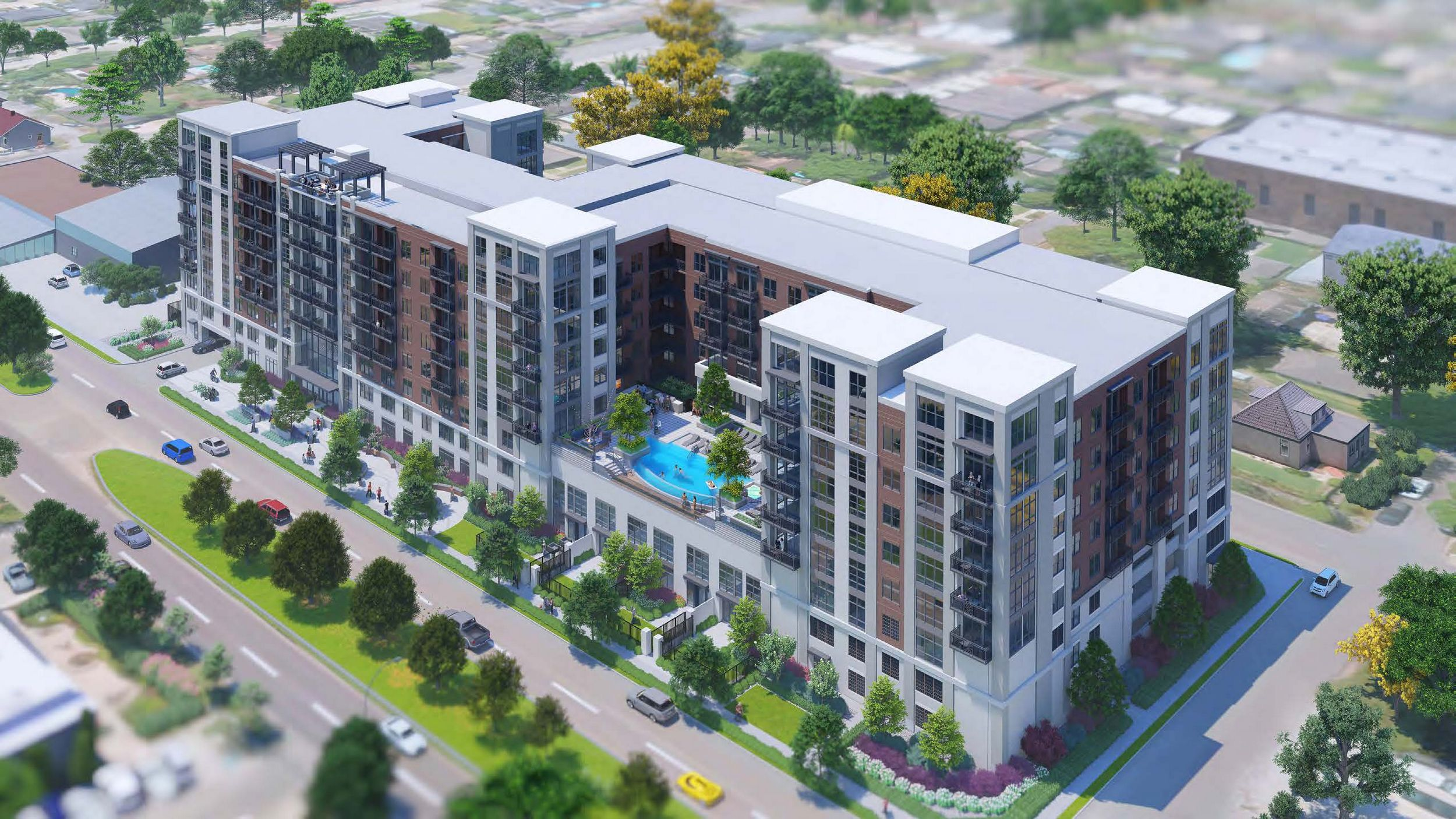 Rendering of outside view of apartment building