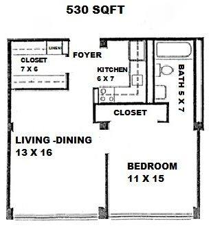 A 2D drawing of the 1x1 floor plan