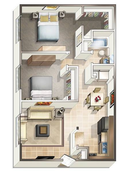 A 2D drawing of the Two Bedroom floor plan