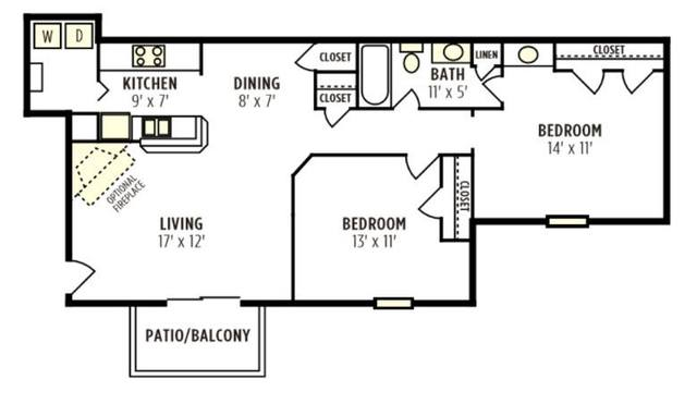 A 2D drawing of the Willow floor plan