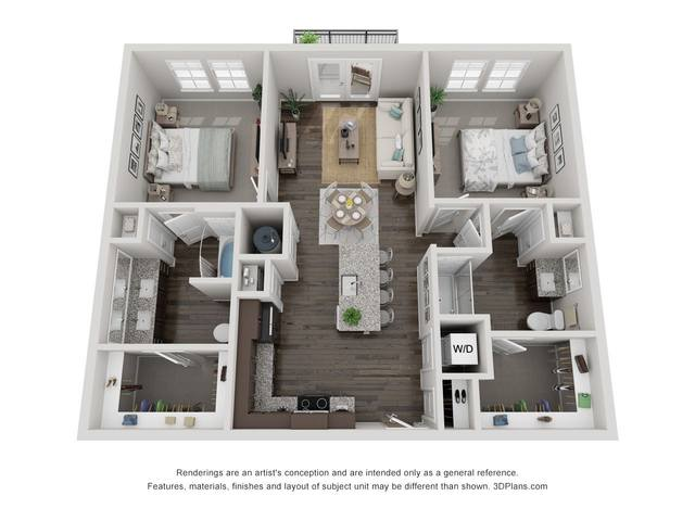 A 3D rendering of the B1 floorplan