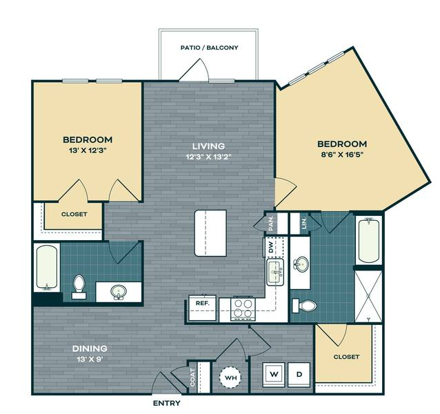 A 2D drawing of the B2.3 floor plan
