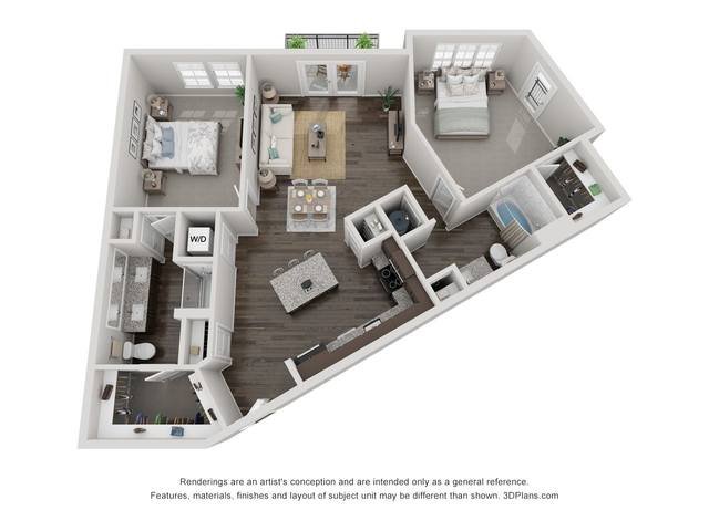 A 3D rendering of the B1A floor plan