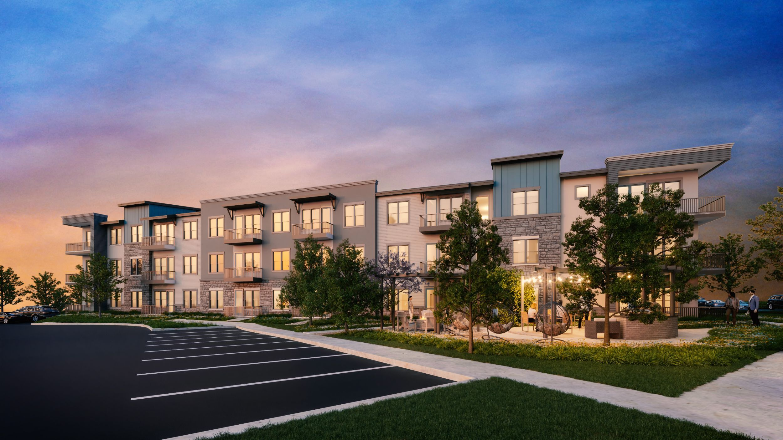 Rendering of outside of apartment building