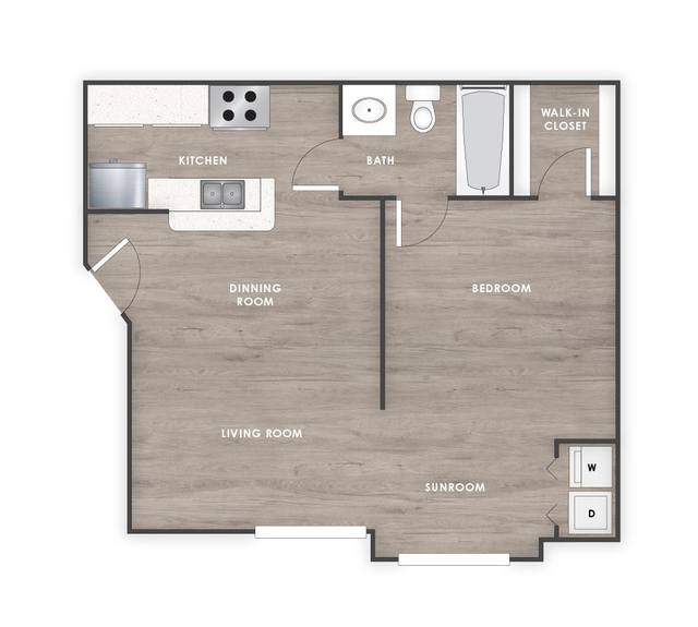 A 2D drawing of the Lily Renovated floor plan