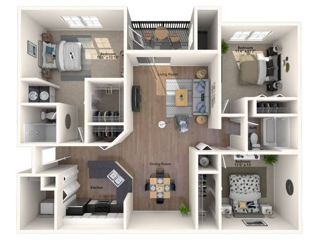 A 2D drawing of the Ginger floor plan