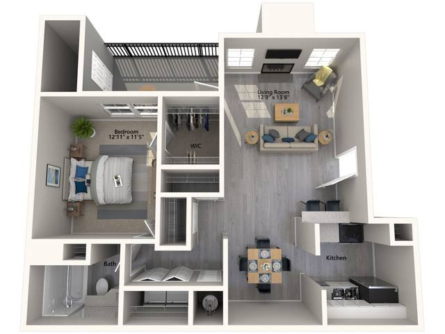 A 3D rendering of the Banyan Renovated floor plan