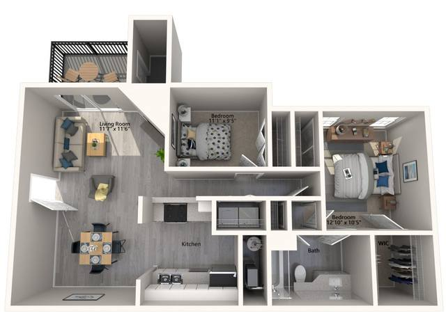 A 3D rendering of the Cypress Renovated floor plan