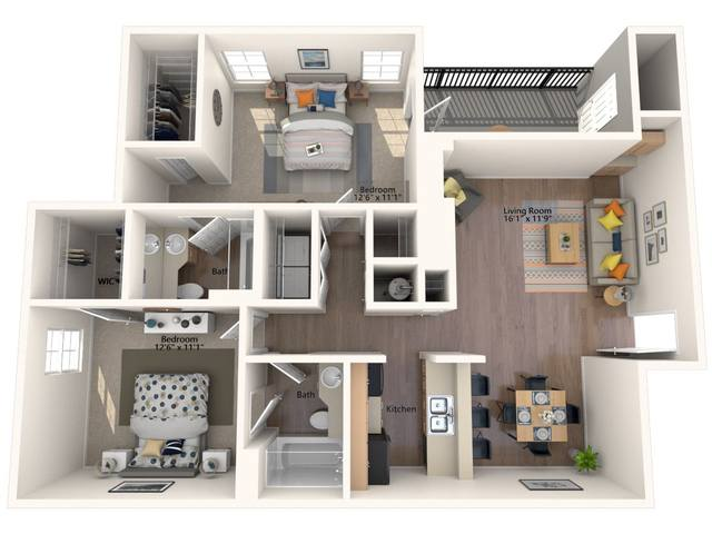 A 3D rendering of the Dogwood floor plan