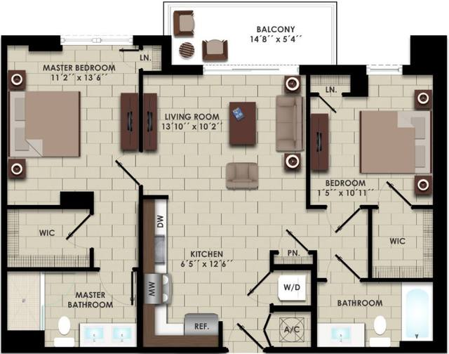 A 2D drawing of the B2-D floor plan