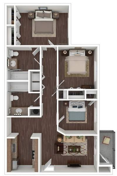 A 3D rendering of the The Ivy floor plan