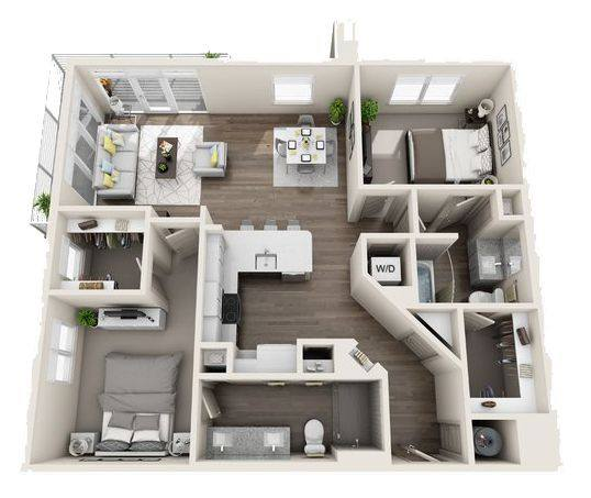 A 3D rendering of the B3A Mid-Rise floor plan