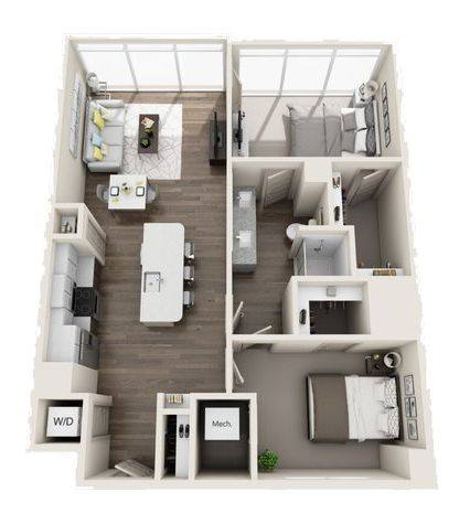 A 3D rendering of the B1 High-Rise floor plan