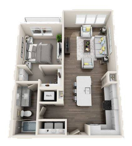 A 3D rendering of the A4 Mid-Rise floor plan
