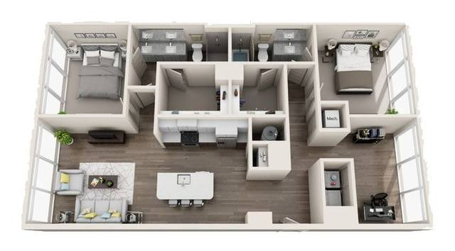 A 3D rendering of the B4 High-Rise floor plan