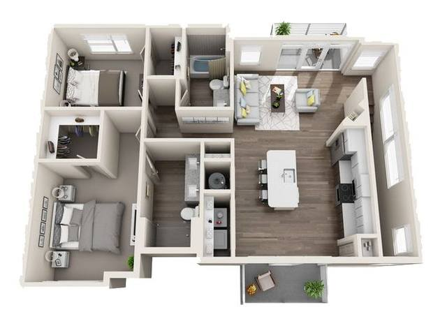 A 3D rendering of the B5 Carriage Homes floor plan