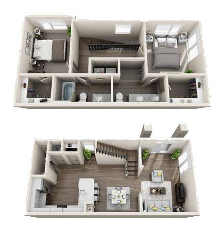 A 3D rendering of the B6 Townhomes floor plan