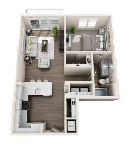 A 3D rendering of the A6 Mid-Rise floor plan