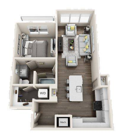 A 3D rendering of the A5 Mid-Rise floor plan