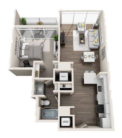 A 3D rendering of the A1 High-Rise floor plan