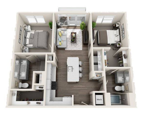 A 3D rendering of the B2 Mid-Rise floor plan