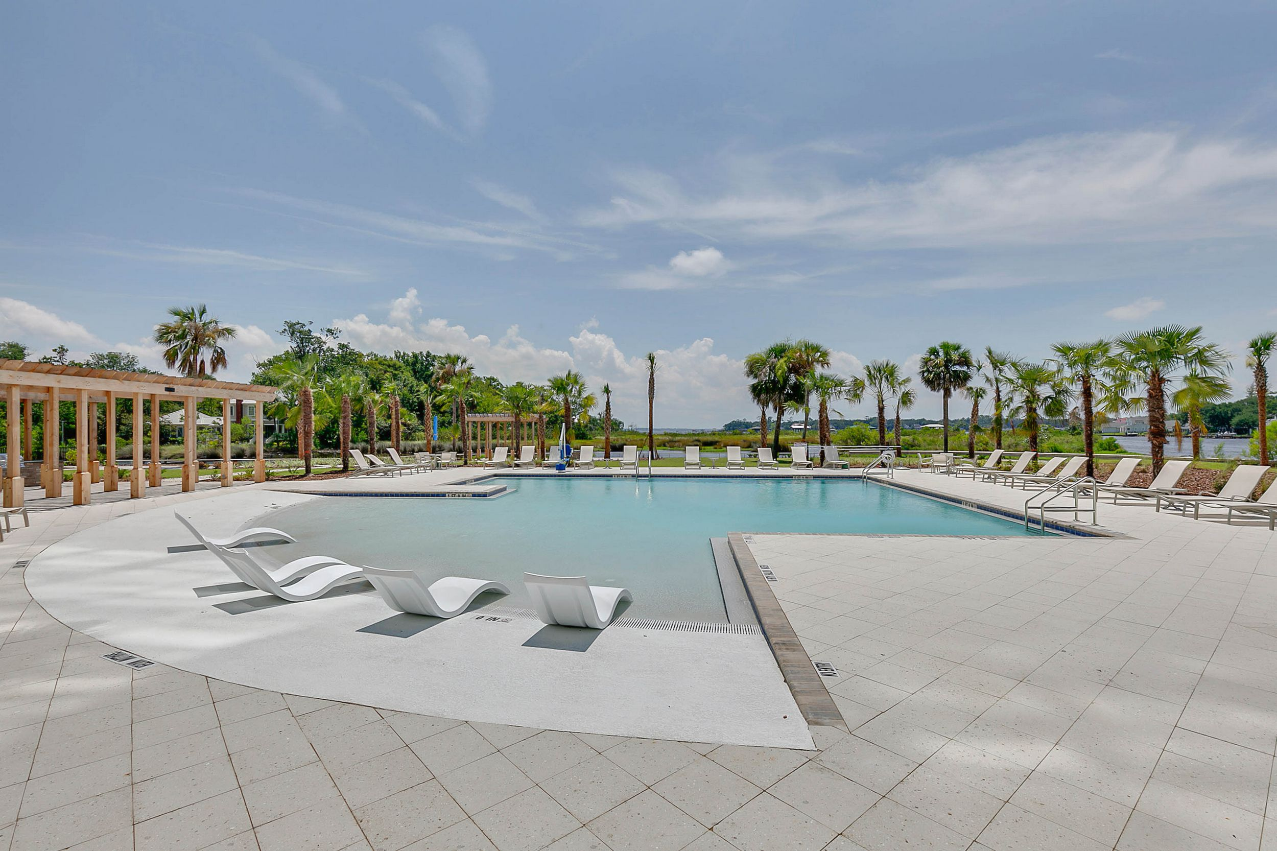 Swimming pool with sundeck and seating