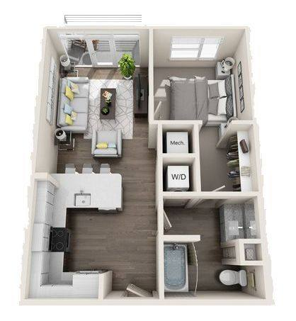 A 3D rendering of the A2 Mid-Rise floor plan