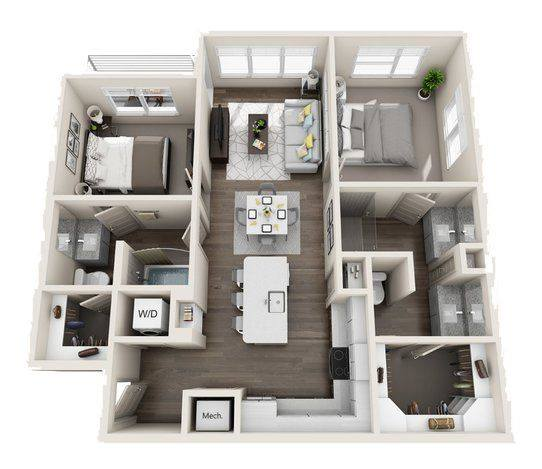 A 3D rendering of the B2A Mid-Rise floor plan