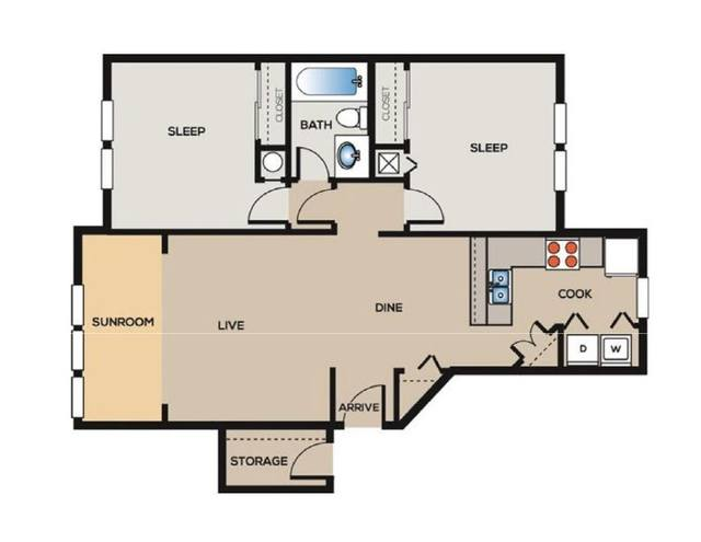 A 2D drawing of the B1 Renovated floor plan