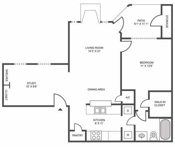 A 2D drawing of the Magnolia floor plan
