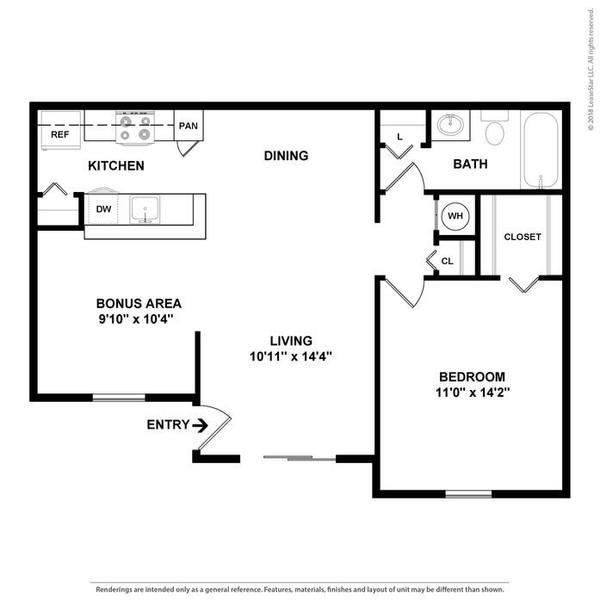 A 2D drawing of the The Lotus floor plan