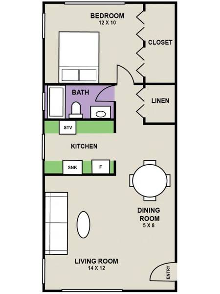 A 2D drawing of the Kenwood floor plan