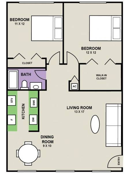A 2D drawing of the Avalon floor plan