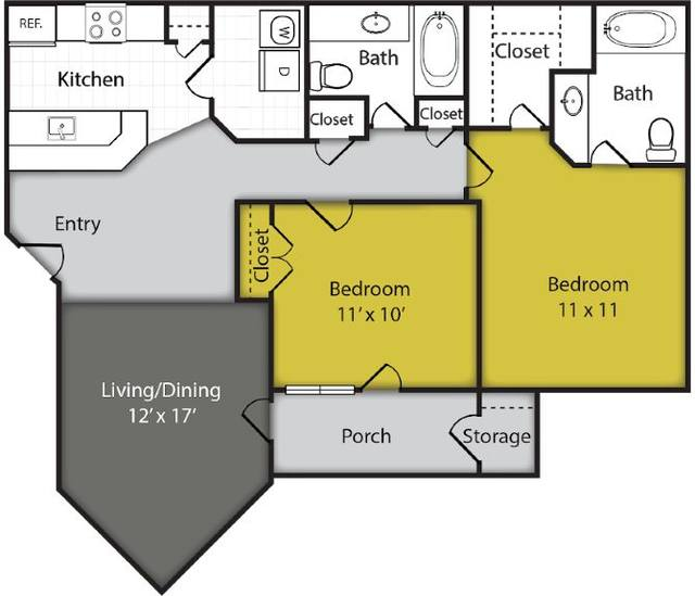 A 2D drawing of the Cosmo floor plan