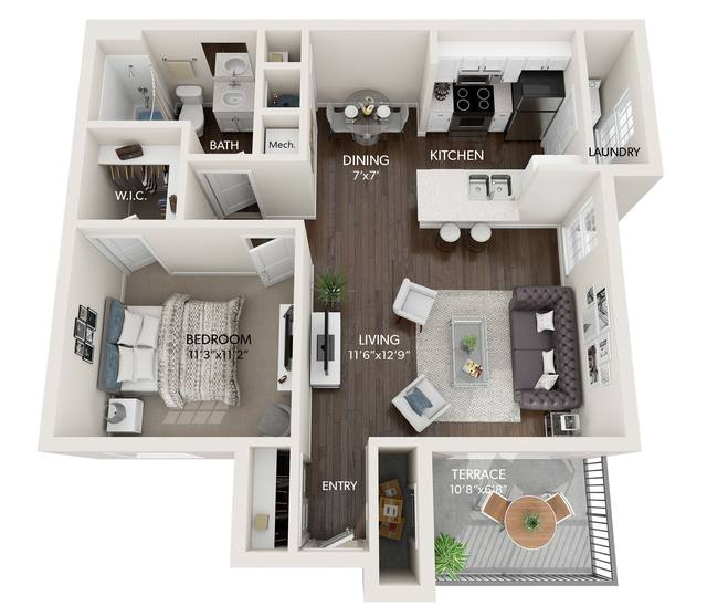 A 2D drawing of the The Birch Renovated floor plan