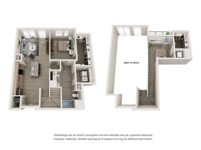 A 3D rendering of the A16 floor plan